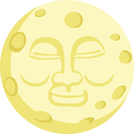 幸せな顔をした月が子供のパジャマを素敵なデザイン。