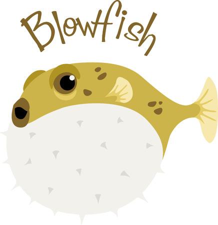 Ein Kugelfisch ist eine lustige Fische für einen Strand-Projekt. Standard-Bild - 43917519