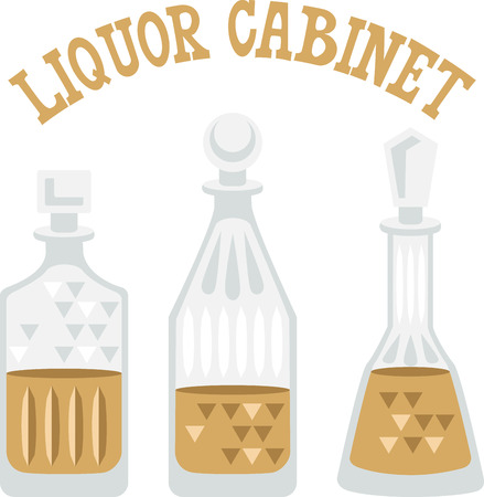 Use this liquor design for a bartender towel.