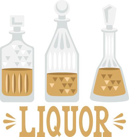 Use this liquor design for a bartender towel.