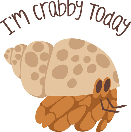Use this hermit crab on a childs shirt.