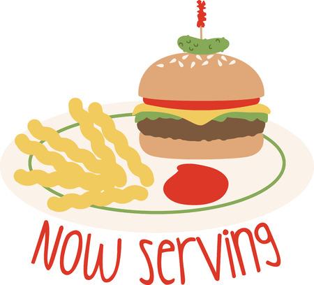 Utilizzare questo hamburger e patatine fritte su una camicia cena o grembiule. Archivio Fotografico - 43917675