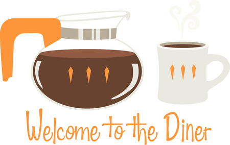 Use this coffee design for a diner apron. Ilustracja