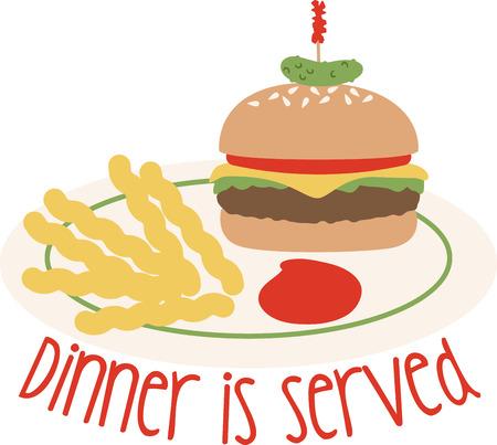 Utilizzare questo hamburger e patatine fritte su una camicia cena o grembiule. Archivio Fotografico - 43917684