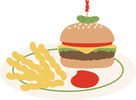 Use this hamburger and fries on a diner shirt or apron.