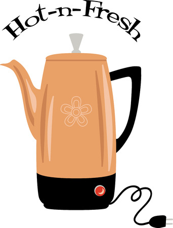 Use this water kettle on a diner shirt or apron. Ilustracja
