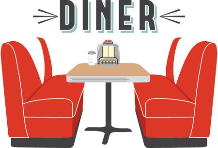 ダイナーのシャツやエプロンのこのレストラン シーンを使用します。  イラスト・ベクター素材