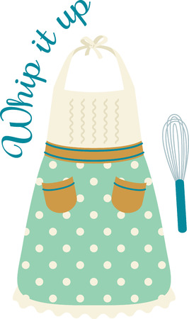 pinafore: Cooks will enjoy a cooking design on a towel or apron. Illustration