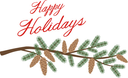 a bough: A pine branch is a great holiday decoration. Illustration