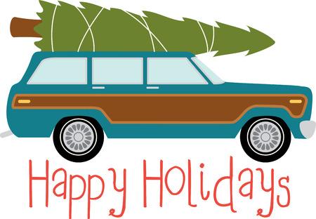 스테이션 왜건 자동차는 크리스마스 트리를 전송합니다. 스톡 콘텐츠 - 43917770