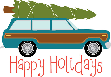 Station wagon car to transport your christmas tree. Vectores