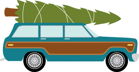 Station wagon car to transport your christmas tree. 向量圖像