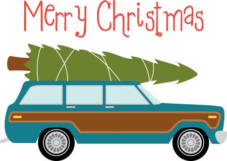 tannenbaum: Station wagon car to transport your christmas tree. Illustration