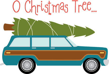 Station wagon car to transport your christmas tree. Çizim