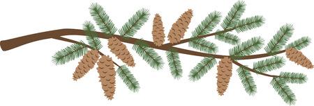 Een pijnboomtak is een geweldige vakantie decoratie. Stock Illustratie