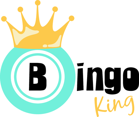 crowned: Be the bingo king with this crowned chip design. Illustration