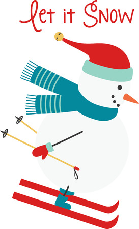 Christmas snowman zooming down the slopes and enjoying a skiing adventure! Ilustrace