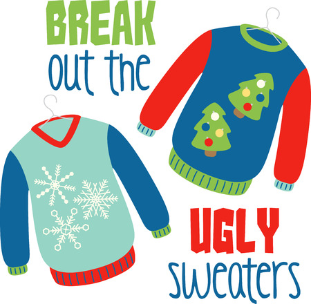 Holiday sweaters to keep you warm during the festive season 向量圖像