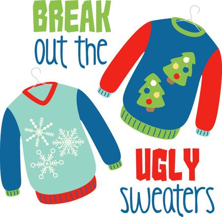 sueter: Suéteres de vacaciones para mantener el calor durante la temporada festiva Vectores