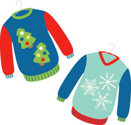 휴일 스웨터는 축제 시즌 동안 따뜻하게 유지 일러스트