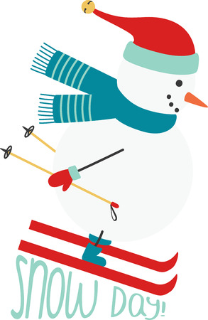 Christmas snowman zooming down the slopes and enjoying a skiing adventure! Çizim