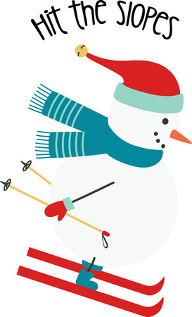 zooming: Christmas snowman zooming down the slopes and enjoying a skiing adventure! Illustration