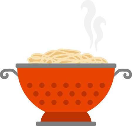 pasta dish: Cute for a kitchen linen or dish towel, use this collander of spaghetti in memory of your favorite pasta dish. Illustration