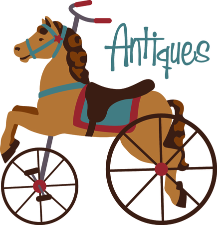 collector: Carousel horse tricycle for the antique collector. Illustration