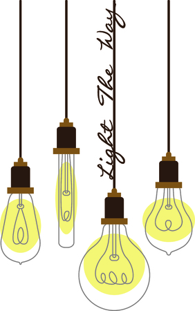 furnishing: Assorted hanging vintage light bulbs with curling wire filaments.