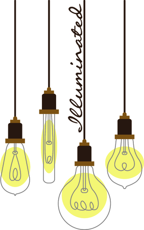 lite: Assorted hanging vintage light bulbs with curling wire filaments.