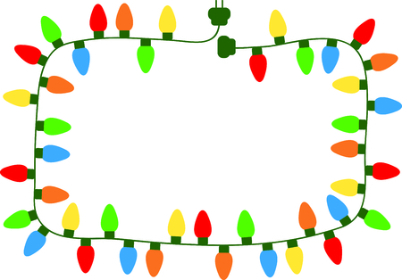lite: Colorful string of Christmas lights as a rectangle frame.