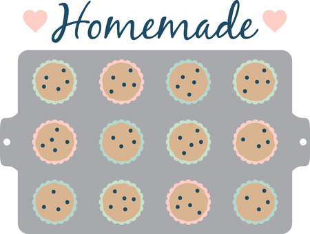 indulge: Theres nothing like a batch of homemade muffins to lift your spirits and make your house smell wonderful.  Indulge with this design on your kitchen projects. Illustration
