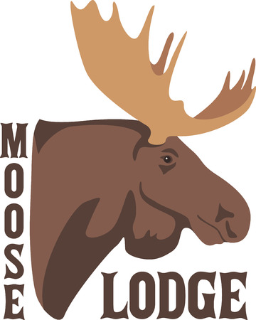 moose hunting: Be in touch with nature indoors.  Plan your next ultimate adventure today with this wildlife hunting design on your home decor projects. Illustration