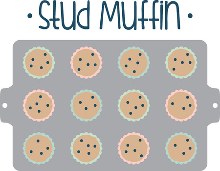 batch: Theres nothing like a batch of homemade muffins to lift your spirits and make your house smell wonderful.  Indulge with this design on your kitchen projects. Illustration