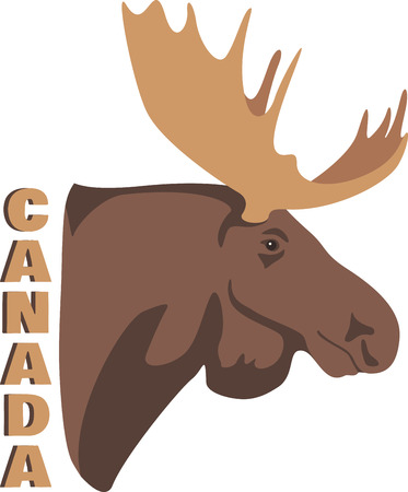 caribou: Be in touch with nature indoors.  Plan your next ultimate adventure today with this wildlife hunting design on your home decor projects. Illustration