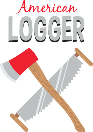 logger: Be home among the trees with the lumberjacks of America.  A great design on apparel for your lumberjacks. Illustration