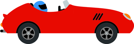 car clothes: Little red convertible with helmet  wearing driver.