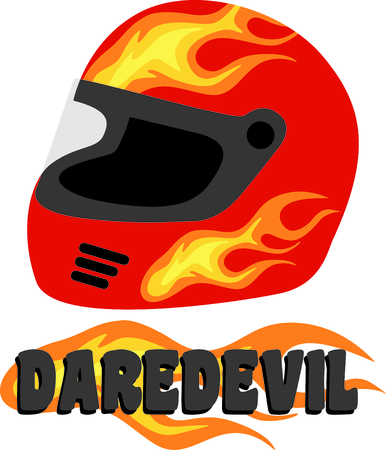 ignited: Flaming red safety helmet for the racing aficionado