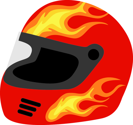 cars race: Flaming red safety helmet for the racing aficionado