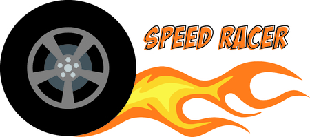 Flaming rubber tire is fast and hot. Stock Vector - 43917962