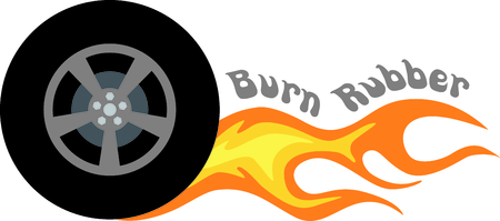 ignited: Flaming rubber tire is fast and hot.