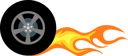 Flaming rubber tire is fast and hot.