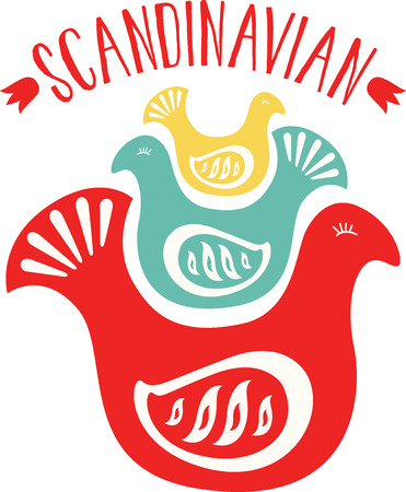 furnishings: Make your vintage furniture look pretty with this Scandinavian Folk Birds design on your furnishings!
