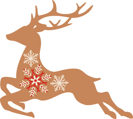 This reindeer design will provide a unique addition to your Christmas decorations.  Try it on a table cloth, runner or curtain! Stock Illustratie