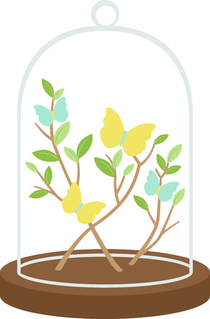 glass dome: Beautiful flowers are a wonderful accent to any project. Illustration
