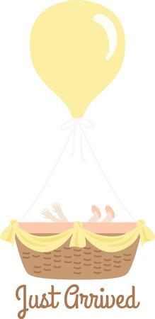 Accogliere un nuovo bambino con un design carino su un regalo bambino doccia. Archivio Fotografico - 43918052