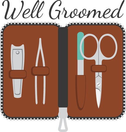This handy grooming kit contains everything you need to stay looking sharp away from home.  Its a fun design for your favorite man.
