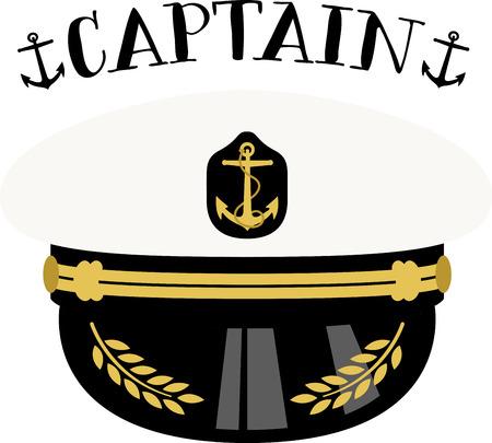 Klik hier voor de nautische look! Vul uw marine ensemble met deze Sea Captain hoed. Uw marine zou dit ontwerp op hun projecten waarderen! Stockfoto - 43918075