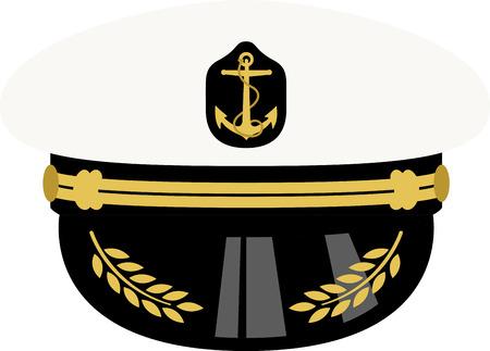 Klik hier voor de nautische look! Vul uw marine ensemble met deze Sea Captain hoed. Uw marine zou dit ontwerp op hun projecten waarderen! Stockfoto - 43918081