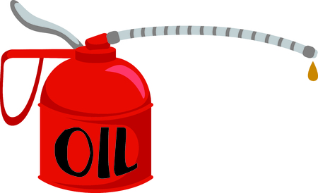 technician: Dripping oil can for the auto mechanic or service technician.